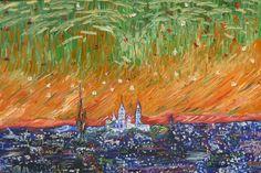 Original:Paris in the night. Oil at canvas.