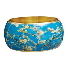 """Women's Van Gogh Almond Blossoms Bangle Bracelet - 1 1/2"""" Wide Lacquered on Brass. A beautiful piece of artwork for your wrist at a great value!. A unique, stylish, and creative statement piece for the art lover. For the Vincent van Gogh follower or artist in you. Fun for everyday casual wear or a dressy night out. People will stop to stare and comment on this elegant, eye-catching design."""