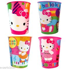 4 Hello Kitty Reusable Plastic Keepsake Cups Birthday Party Supplies Favors | eBay