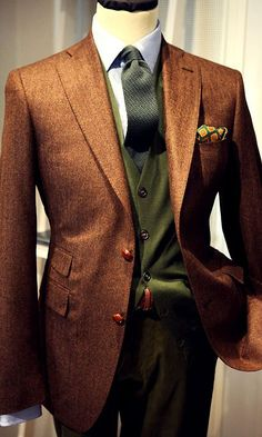 brown and green for fall - getting all autumnal with men's style | pinright.com