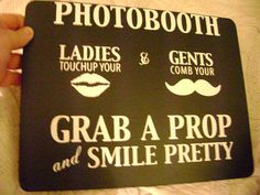 12x9 inch chalkboard for Wedding, birthday, carnival or Halloween Photobooth using lips and mustache props.. $20.00, via Etsy.