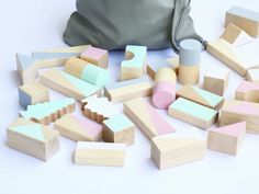 Spring hand painted wooden blocks by Happy Liitle Folks