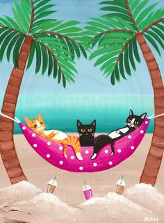 Beach Cats in Hammock Original Beach Cat Folk Art Painting