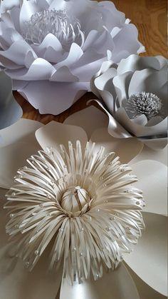 Paper flower backdrop Mettalic paper flowers Wedding paper