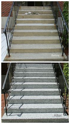 Concrete stairs makeover decor 65 New Ideas Stairs Makeover concrete Decor id. Concrete Front Steps, Front Porch Steps, Front Stairs, Concrete Stairs, Concrete Floor, Cement Steps, Porch Stairs, Concrete Porch, Concrete Overlay