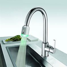 Best Seller Solid Brass Kitchen Faucet with Color Changing LED Light
