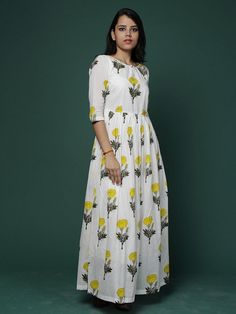 Off White Yellow Block Printed Cotton Maxi Dress – The Loom Kurta Designs, Blouse Designs, Cotton Long Dress, Cotton Dresses, Long Dresses, Ethnic Fashion, Indian Fashion, Indian Dresses, Indian Outfits