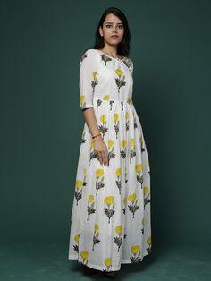 Off White Yellow Block Printed Cotton Maxi Dress