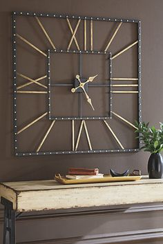Wall Clock Decor Living Room 209769295130387568 - Thames Black/Gold Finish Wall Clock Source by Huge Clock, Big Wall Clocks, Cool Clocks, Wall Clock In Living Room, Wall Clock Square, Large Decorative Wall Clocks, Huge Wall Clock, Kitchen Wall Clocks, Unique Wall Clocks