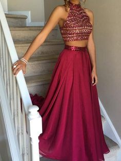 Two Piece Prom Dresses A-line High Neck Rhinestone Long Sexy Prom Dress/Evening Dress JKL155