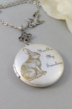 Sunshine Bunny,Locket,Silver Locket,Rabbit,Bunny,Antique Locket,Antique,Woodland,Love You,Art Locket. Handmade jewelry by valleygirldesigns.