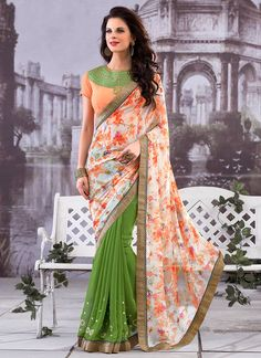 Buy Green N Off White Half N Half Saree online from the wide collection of Saree.  This Green,  Off White  colored Saree in Faux Georgette  fabric goes well with any occasion. Shop online Designer Saree from cbazaar at the lowest price.