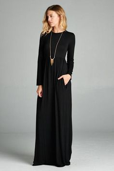Everyone's favorite maxi is here. This cozy yet modern maxi dress is sure to be a new favorite in your closet! You will love the comfort of its relaxed fit and chic look.This dress won't last. Offered in Black  BEST Seller! Solid rayon and spandex. High waisted. Hidden pocket:)Length measurements from shoulder to bot