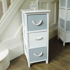 Blue And White 3 Drawer Nautical Storage Unit Chest Bedside Bathroom Toy Room