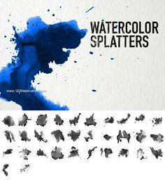 Watercolor Splatter Set - Download  Photoshop brush http://www.123freebrushes.com/watercolor-splatter-set/ , Published in #GrungeSplatter. More Free Grunge & Splatter Brushes, http://www.123freebrushes.com/free-brushes/grunge-splatter/ | #123freebrushes