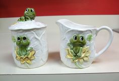Neil The Frog 1978 Sugar and Creamer Container Set Sears Roebuck Made Japan Vintage Pottery Ceramic Cute Frog Relaxing Chilling on Lily Pad by MarksVintageShoppe on Etsy