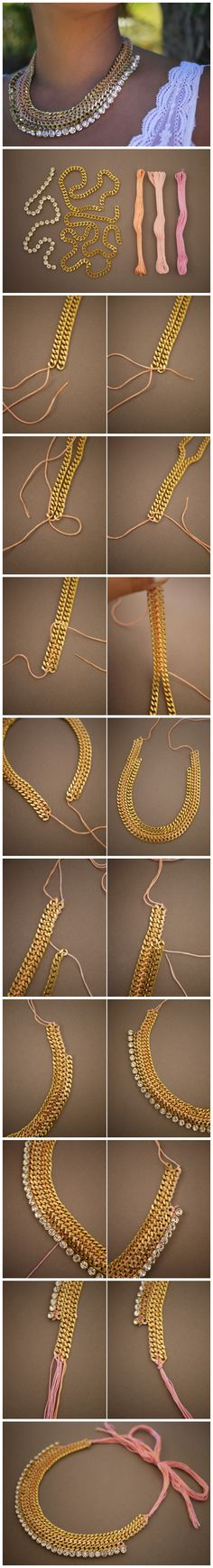 DIY necklace with chain!see detailed instructions!find all the materials you need to make your own one @ www.nikolisgroup.com