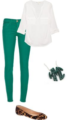 Green pants and white blouse! Super cute & completely appropriate for work.