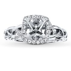 Diamond Ring Setting 1/5 ct tw Round-cut 14K White Gold