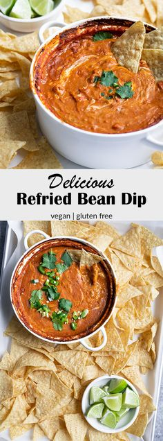 This refried bean dip is a crowd pleasing snack or appetizer! It's super easy to make and needs just a few pantry friendly ingredients to come together. It's also vegan and gluten free, but you'd never know it! Vegan Refried Beans, Refried Bean Dip, Vegan Mexican Recipes, Vegetarian Recipes, Healthy Recipes, Vegetarian Sandwiches, Going Vegetarian, Vegetarian Breakfast, Vegetarian Dinners