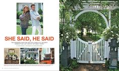 """""""She Said, He Said"""" story in Connecticut Cottages & Gardens October 2012."""