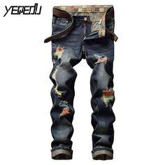 #3445 Streetwear Paint Straight Ripped jeans for men Fashion Biker Skinny jeans men Brand clothing Cheap Denim-factory-jeans
