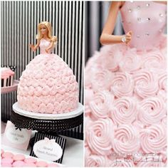 A Barbie Doll Cake (Every 6 year old girl's dream!) Credit to: thetomkatstudio.com & http://thedomesticatedmama.blogspot.ca