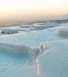 Pamukkale a natural hot springs and travertines pool. It's been used as a spa since the 2nd century BC -Turkish