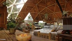 Interior view of the upper-level bedroom in a geodesic dome house (designed by Cathedralite Domes for Dr Charles Bingham), Fresno, California, 1972.