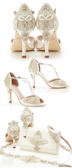 EMMY LONDON gorgeous #wedding #shoes embellished open toe high heel sandals ivory kid suede wedding shoe (aurelia)