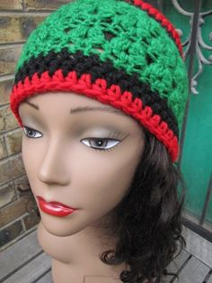 Green Black and Red Hand Crochet Headband Ear Warmer with Button Close | Corneliascreativecorner - Accessories on ArtFir