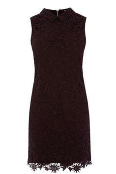 This sleeveless shift dress is constructed from a soft jersey with lace overlay and features a peak collar and exposed zip fastening at the back. Length of dress, from shoulder seam to hem, 89cm approx. Height of model shown: 5ft 10 inches/178cm. Model wears: UK size 10.Fabric:Lining: 100.0% Polyester.  Main: 100.0% Polyester.  Trim: 100.0% Polyester.Wash care:Machine WashProduct code: 02497042 Price: £30.00 (was £58.00)