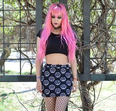 Pastel goth vibes from @resauvi in the Graffiti Pentagram mini skirt  ON SALE  now $23.99!