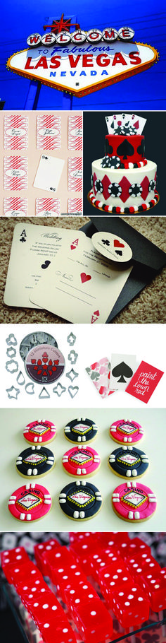 """Vegas Party - I love the invitations that look like playing cards... """"I'm all in"""" or """"I fold."""""""