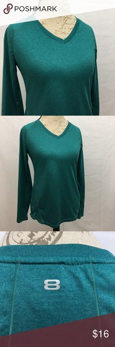 "Layer 8 Qwik-Dry Performance Layer 8 Qwik-Dry performance long sleeve top. Excellent condition. No flaws. Heathered teal. Size M. Armpit to armpit 18"". Shoulder to bottom hem 25"". Layer 8 Tops"