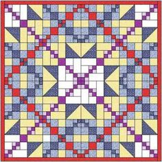 The chain and knot quilt is made with 2 quilt blocks arranged in 4 rows of 4. An attractive quilt with grids and a star forming within the quilt