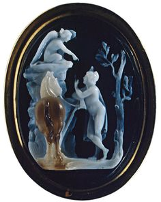 Oedipus and Sphinx. Niccolo Amastini (1780—1851). Italy. Early 19th century. Cameo. Three-layered sardonyx, gold. 3.5 × 2.6 cm. Below, under the line of the ground, the signature: N.T. MASTINI F. Inv. No. К 1774. Saint-Petersburg, The State Hermitage Museum.