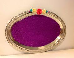 Vanity Tray Silver Platter Glitter Tray Purple by MaidenLongIsland