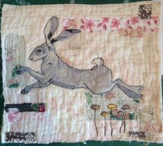 Hare machine embroidery on vintage quilt fragment. mrsbertimus.blogspot.com