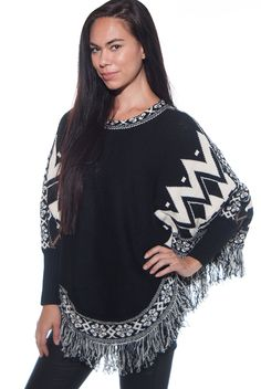 Tribal Pattern Fringe Tassel Hem Poncho Sweater with Sleeves - Black and White from Alt.B at Lucky 21