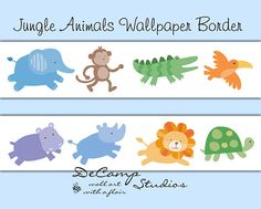Baby Jungle Animals Wallpaper Border Wall Decals for girl or boy nursery and children's safari bedroom decor. Includes an elephant, monkey, alligator, bird, hippo, rhino, lion, and turtle #decampstudios