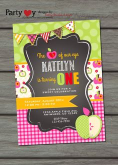 Apple of my Eye Birthday Invitation Apple by PartyInvitesAndMore, $10.00