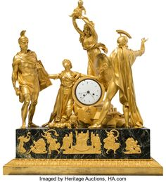 A Rare and Large Pierre-Philippe Thomire Empire Gilt Bronze and Verde Antico Marble Allegorical Mantel Clock Depicting the Intervention of the Sabine Women, circa 1810 Marks to clock face: Galle, Rue Vivienne, Paris 29 h x w x d inches x x cm). Large Vintage Wall Clocks, Antique Clocks, Classic Clocks, Retro Clock, Wall Clock Online, Mantel Clocks, Wooden Clock, Antique Stores, Art Auction
