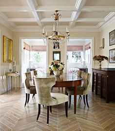 A quiet palette plays counterpoint to this dining room's elegant furnishings and design details, like the coffered ceiling and parquet flooring - Traditional Home® / Photo: Werner Straube / Design: Samantha Lyman and Myra Hoefer Decor, House Design, Interior, Home, Dining, House Styles, House Interior, Herringbone Floor, Dining Room Inspiration