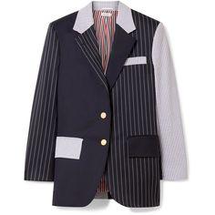 Thom Browne Patchwork striped wool-blend seersucker and twill blazer (2,797,945 KRW) found on Polyvore featuring women's fashion, outerwear, jackets, blazers, blazer, seersucker blazer, striped blazer, blue pinstripe blazer, blue jackets and blue blazers