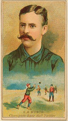 1888 Baseball card  File:Flickr - …trialsanderrors - Ernie Burch, outfielder, Brooklyn Trolley-Dodgers, 1888.jpg
