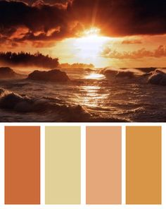 Sunset Color Palette (Sunset art print by Dennis Frates)id add the dark color too for variation. I think these may be my new favorite colors...with some adjustments...I want a plumy color, the orange to be a little brighter, a beige, and a pale yellow...im pretty sure. =]