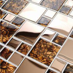 Rose gold metal glass tile