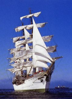 The barque GLORIA is a training vessel and official flagship of the Columbian Navy.