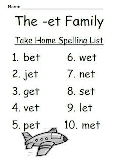 Fern Smith's The -et Family Spelling {Word Work} Lists & Tests